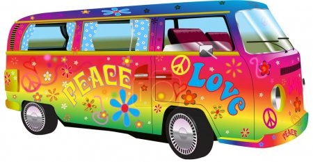 RAINBOW HIPPY VAN illustration