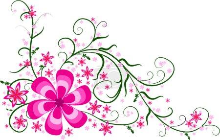 Pink floral corner design