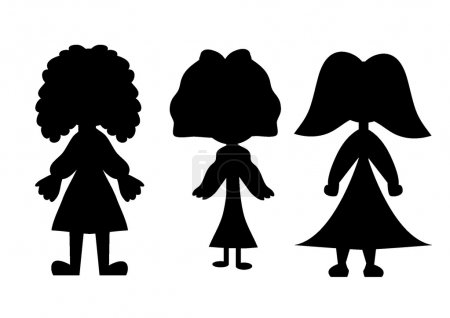 Girl children playing silhouette