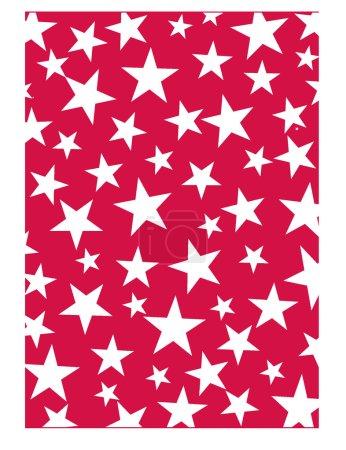 Vector illustration of White stars on red