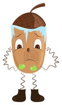 Illustration pour Dessin animé glands frissonnant du froid. Illustration vectorielle - image libre de droit
