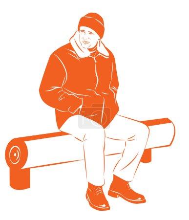 Illustration pour Un homme vêtu d'une veste d'hiver chaude gèle assis sur le banc, illustration vectorielle - image libre de droit