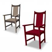 Brown and dark red chairs with shadow