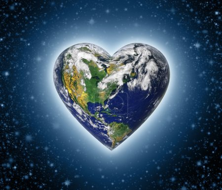 Photo for The planet earth shaped as a heart against a starry background. - Royalty Free Image