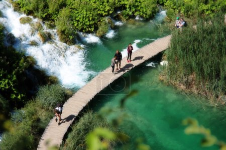 Beautiful landscapes waterfall, rock walls, stunning nature views in National park Plitvice lakes - Plitvička jezera