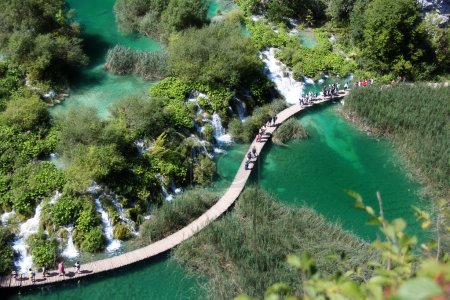 Beautiful landscapes waterfall, rock walls, stunning nature views in National park Plitvice lakes - Plitvička jezera, Croatia