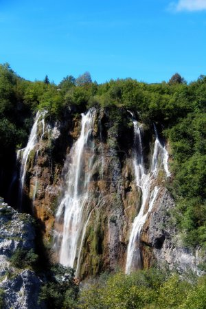 Beautiful landscapes waterfall, rock walls, stunning nature views in National park Plitvice lakes - Plitvička jezera, Croatia