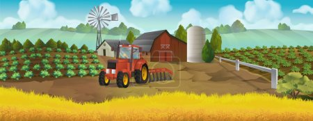 Illustration for Farm, panorama landscape, vector background - Royalty Free Image