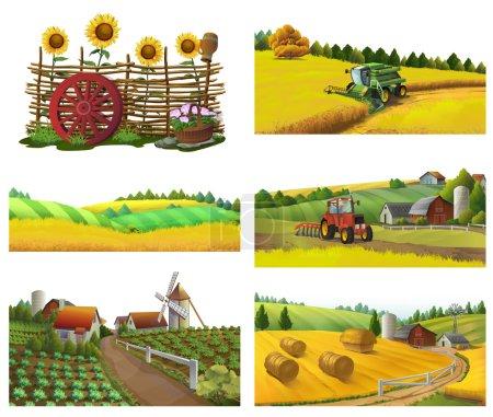 Illustration for Farm, rural landscape, vector set - Royalty Free Image