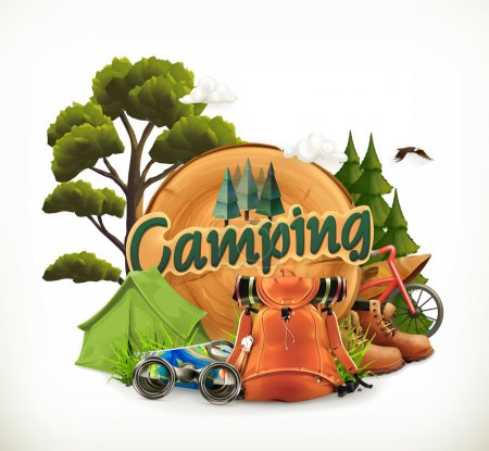 Camping. Adventure time, vector illustration...