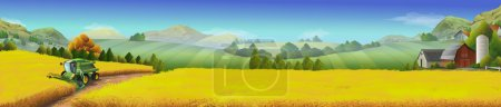 Illustration for Wheat field, rural landscape, vector background - Royalty Free Image