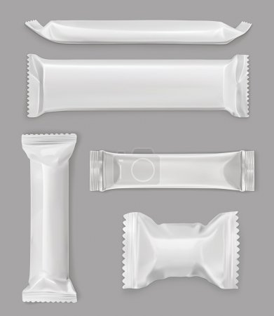 Illustration for White polyethylene package, chocolate bar, vector mockup set - Royalty Free Image