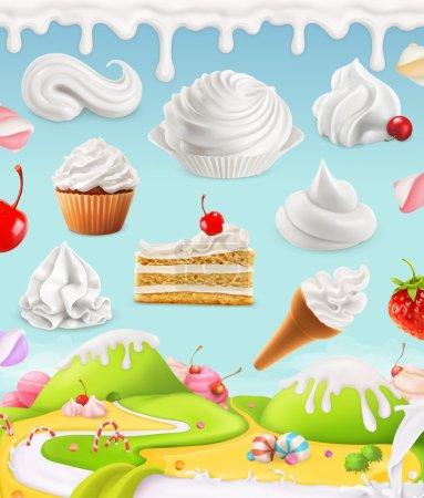 Illustration pour Crème fouettée, lait, crème, glace, gâteau, cupcake, bonbons, maille illustration - image libre de droit