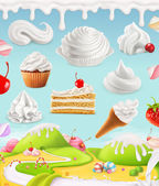 Whipped cream, milk, cream, ice cream, cake, cupcake, candy