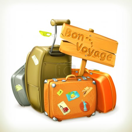 Illustration for Bon voyage, travel icon, vector illustration - Royalty Free Image