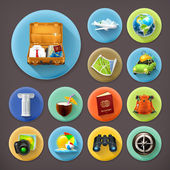 Vacation and Travel long shadow icon set