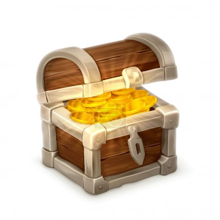 Treasure chest, vector illustration isolated on white background