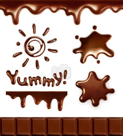 Illustration pour Ensemble de gouttes de chocolat, illustration vectorielle - image libre de droit