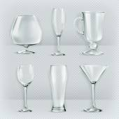 Set of transparent glasses goblets cocktail glasses collection