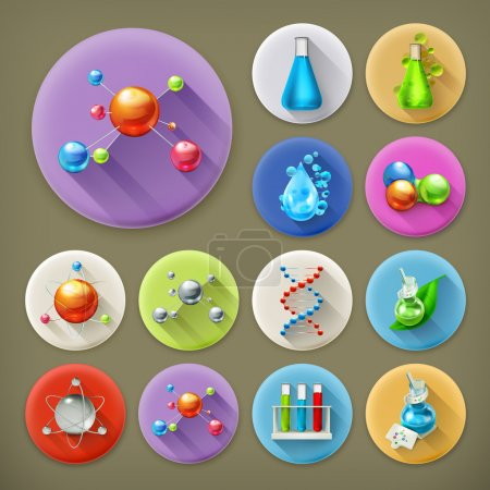 Illustration for Science, tubes and molecules long shadow icon set - Royalty Free Image