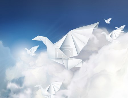Illustration for Paper origami doves in the clouds vector illustration - Royalty Free Image