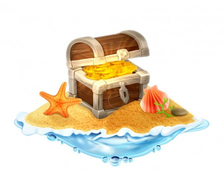 Lost treasure chest of gold on the island vector illustration