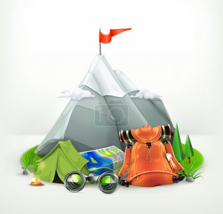 Illustration for Backpacking vector illustration - Royalty Free Image