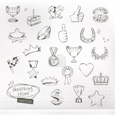Awards and achievement, sketches of icons vector set