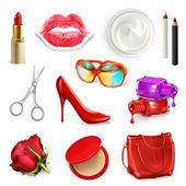 Rote Damen Handtasche mit Kosmetik und Zubehör