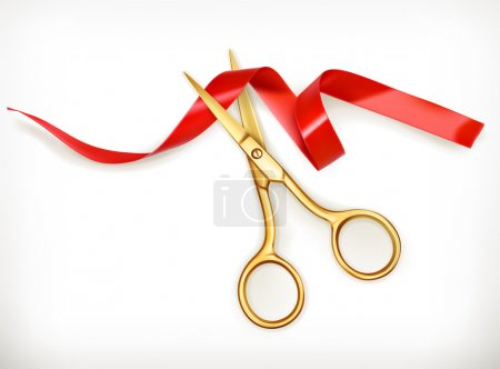 Golden scissors cut the red ribbon, isolated on wh...