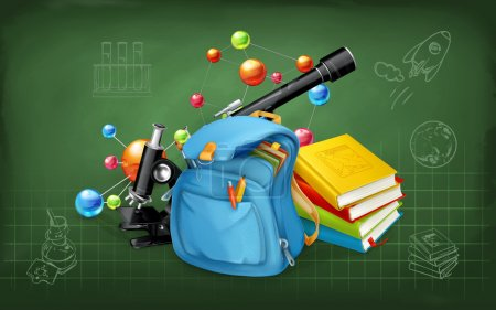 Illustration for Welcome back to school. Studying and teaching, research and knowledge, illustrations on the chalkboard with sketches - Royalty Free Image