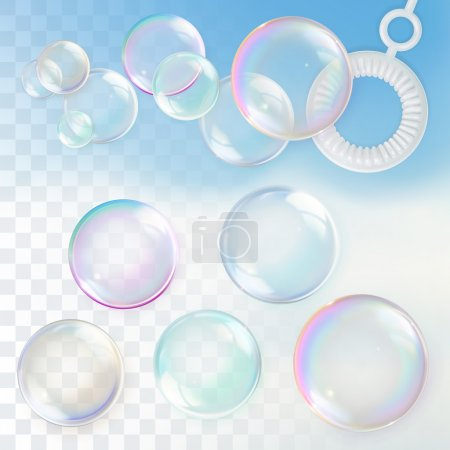 Illustration for Soap bubbles with transparency, design element set - Royalty Free Image