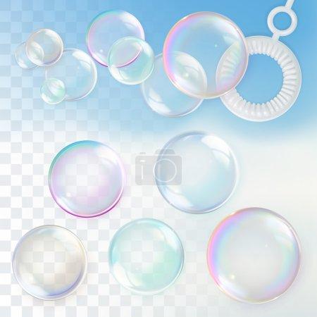 Illustration pour Bulles de savon avec transparence, ensemble d'éléments de conception - image libre de droit
