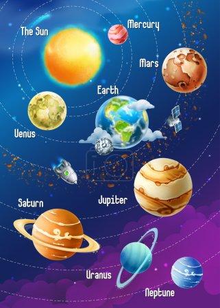 Illustration for Solar system of planets illustration - Royalty Free Image