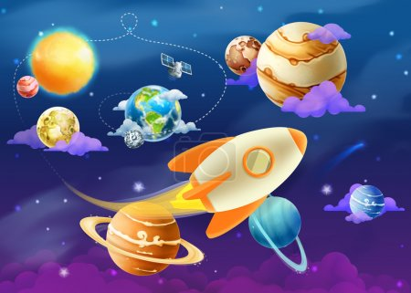 Illustration for Solar system with planets illustration - Royalty Free Image