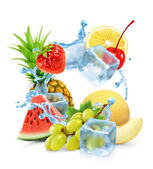 Multifruit with ice cubes and water splash
