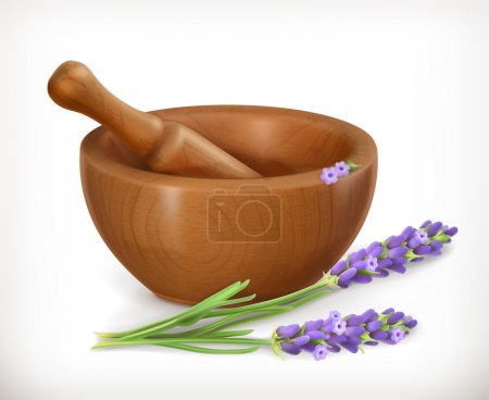 Illustration for Lavender and wooden mortar, vector icon, isolated on white background - Royalty Free Image