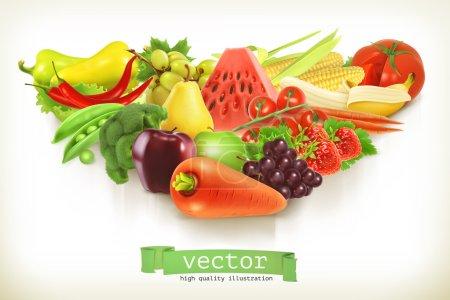 Illustration pour Illustration vectorielle des aliments, fruits et légumes sains, isolée sur fond blanc - image libre de droit
