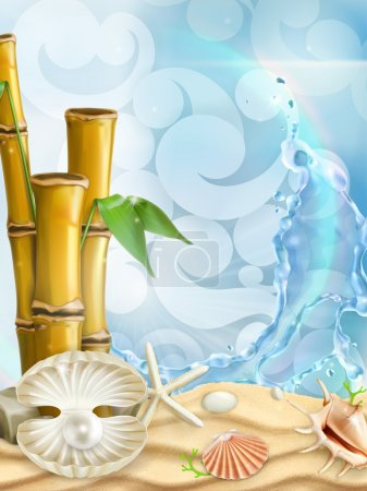Illustration for Sea background, vector illustration with bamboo and seashells - Royalty Free Image