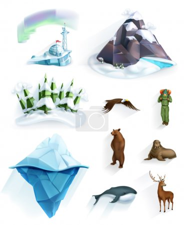 Illustration for Polar nature, winter wonderland, low poly style icons set - Royalty Free Image