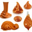 Sweet caramel, set realistic vector illustration...