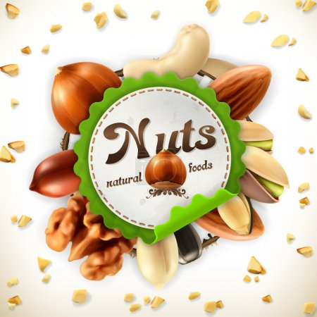 Nuts vector label