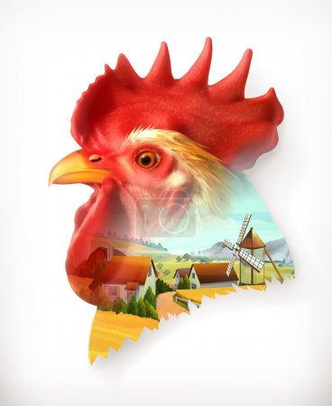 Rooster head and farm