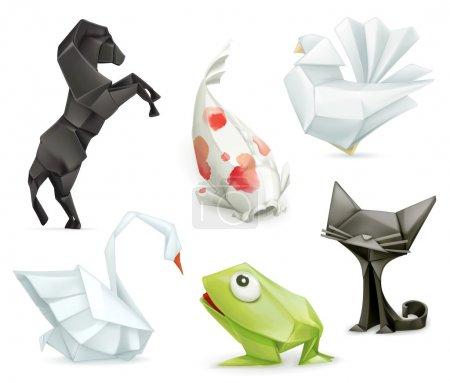 Illustration for Set with origami animal icons, isolated on white background - Royalty Free Image
