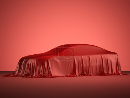 Racing car covered with red cloth