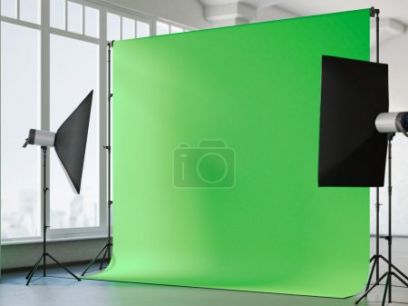 Photo for Loft interior with chroma key background. 3d rendering - Royalty Free Image