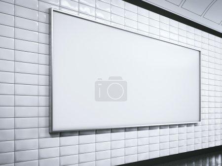 Horisontal white billboard on metro station. 3d rendering