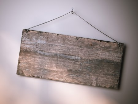 Photo for Wooden sign hanging on the bright wall. 3d rendering - Royalty Free Image