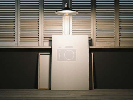 Two blank canvases in artists workshop. 3d rendering