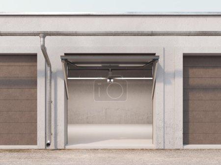 Empty storage unit with opened brown door. 3d rendering